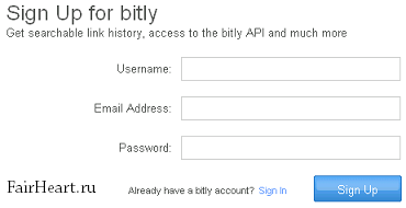 Регистрация на bit.ly