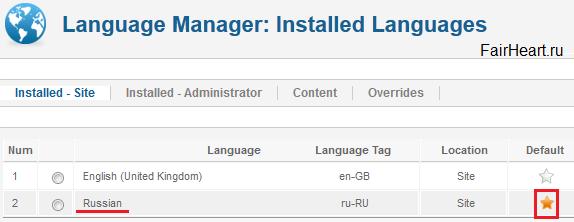 установка языковых пакетов сайта