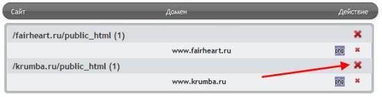 Удаление сайта